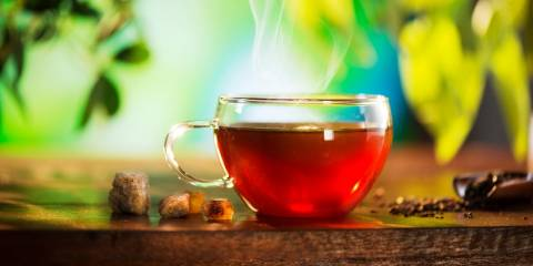 A steaming cup of herbal tea