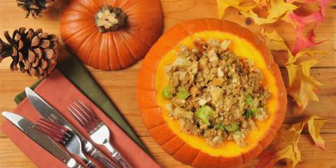 Stuffing in a pumpkin bowl