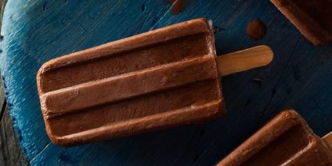 a frozen dairy-free pop with chocolatey flavor