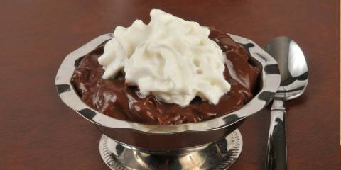 Chocolate custard with whipped cream