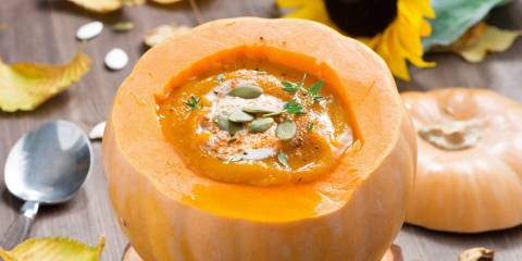 soup served in a carved pumpkin