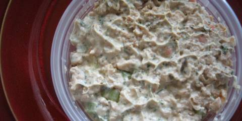 "A bowl of vegan ""tuna"" filling"