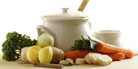 A pot of hot water and vegetables for detox