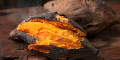 a tender baked sweet potato