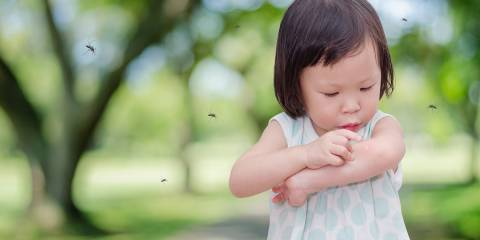 A little girl being swarmed by mosquitos, scratching a bite.