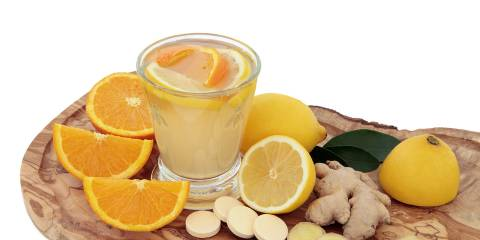 a vitamin health tonic with oranges
