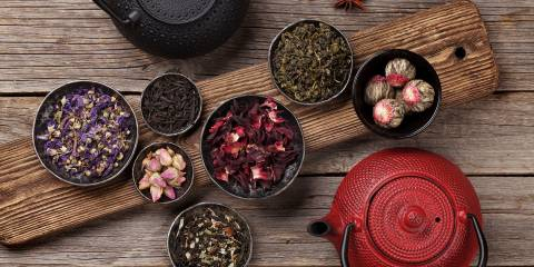 different kinds of teas and kettles