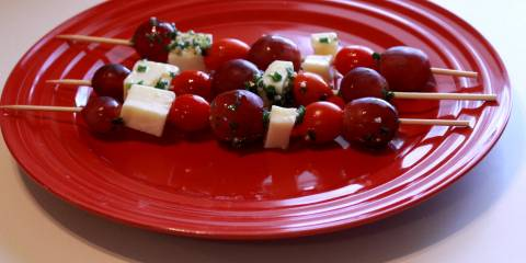 Embedded thumbnail for Tomato, Grape, Cheese Marinated Kebabs