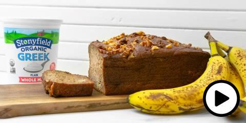bananas, bread, and a tub of greek yogurt