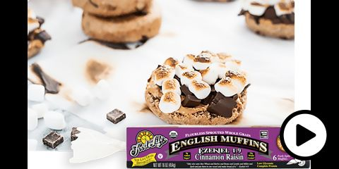 an english muffin with peanut butter, chocolate, and marshmellows