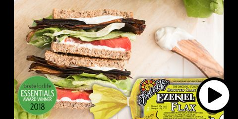 a vegan sandwich made with flax bread