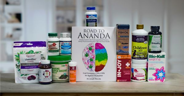 a collection of all-natural supplements, superfoods, and a book
