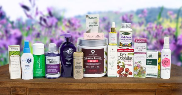 A collection of body care products and flower-powered products