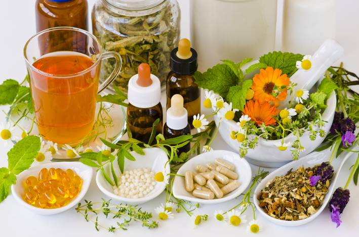 Herbal remedies, supplements and homeopathies.