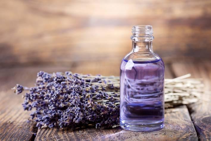 A bottle of calming lavender essential oil