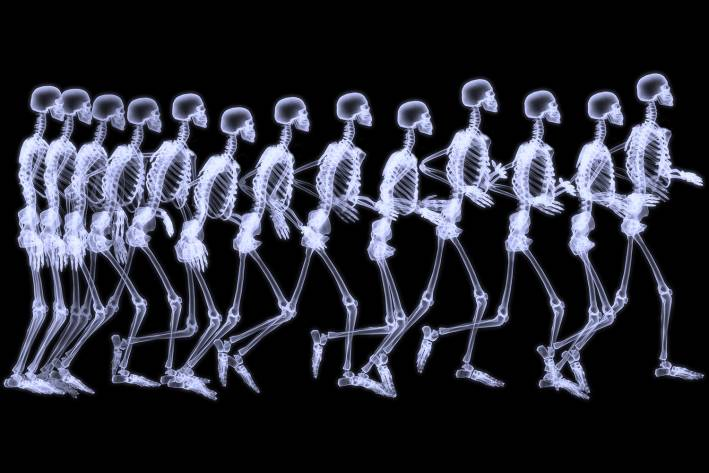 A tiem-lapse x-ray of a human in motion