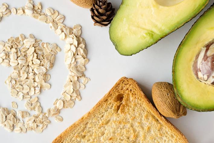 oats, avocado, toast, and almonds to snack on when hungry