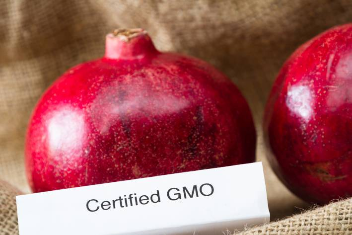 """Some pomegranates labeled as """"Certified GMO"""""""