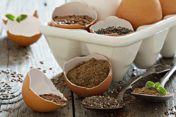 Flax filled egg shells.