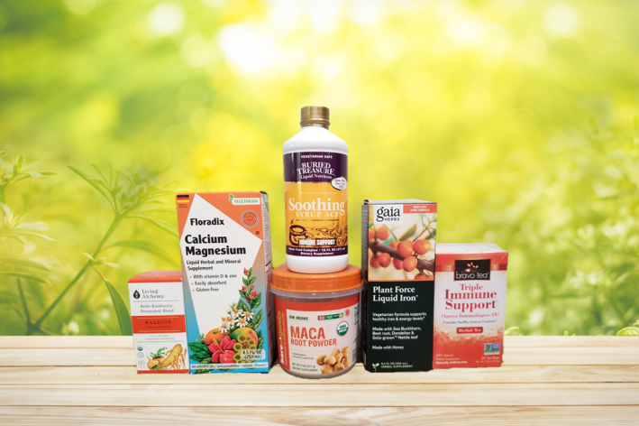 a selection of all-natural supplements and superfoods for strength and energy
