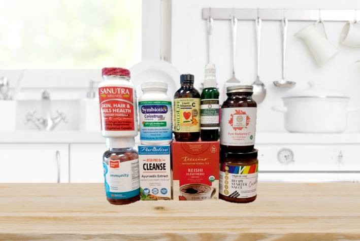 a variety of all-natural supplements and foods