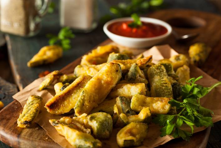 Homemade zucchini fries with marinara.