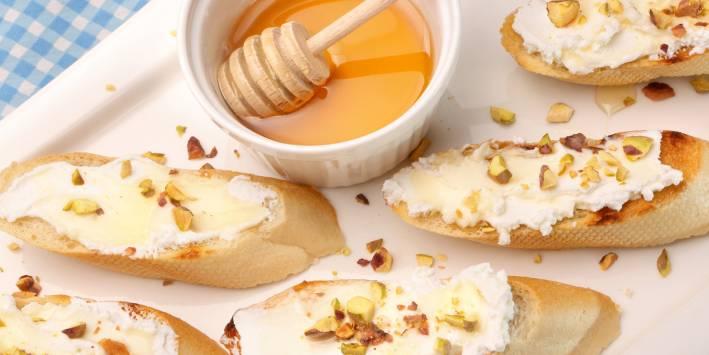 Honey-Brushed Pear Boursin Crostinis