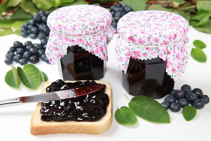 Homemade blueberry jam spread on toast