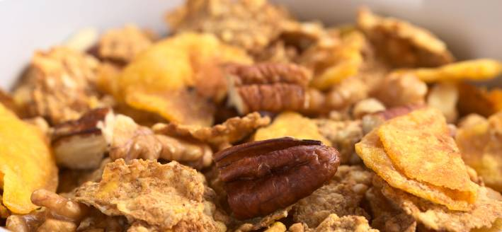 Flake cereal, nuts, and dried fruit