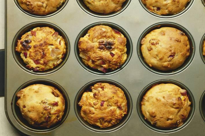 Date and walnut muffins in a muffin tin