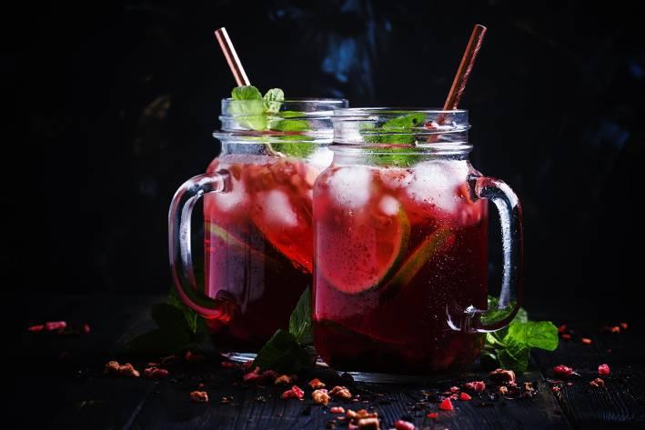 frosty glass jars of hibiscus tea