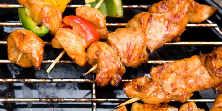 Spicy marinaded kebabs on the grill.