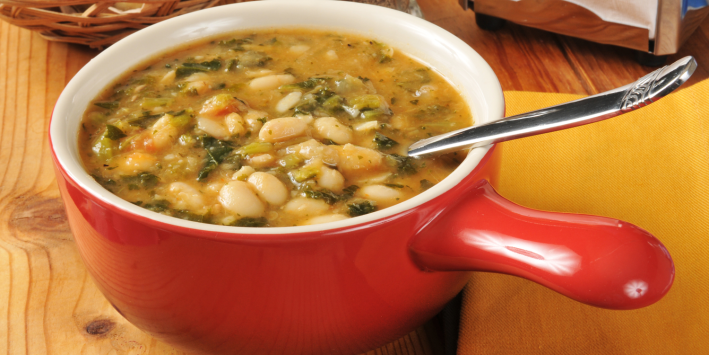 Bean and kale soup ready to eat.