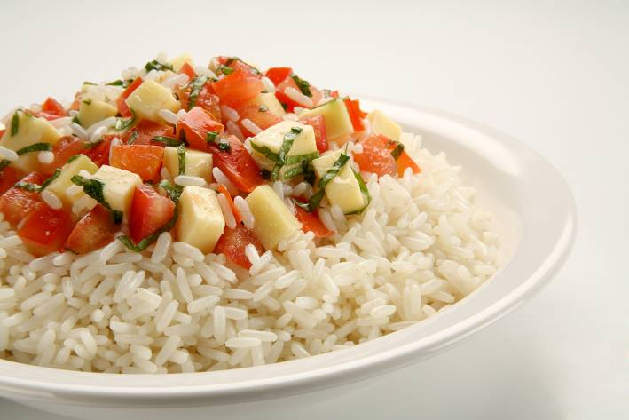 Tomatoes and mozzarella on a bed of rice