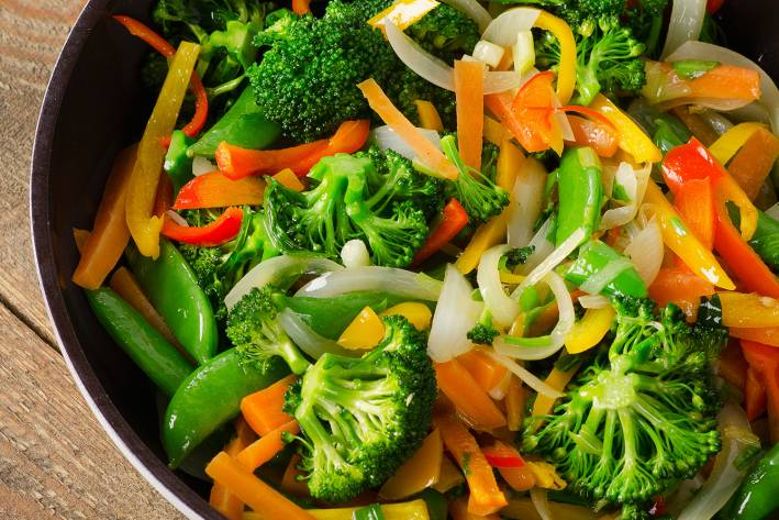 a pan full of vegetables ready for stir-fry