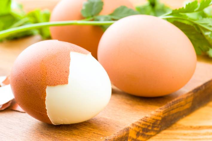 Boiled eggs on the counter