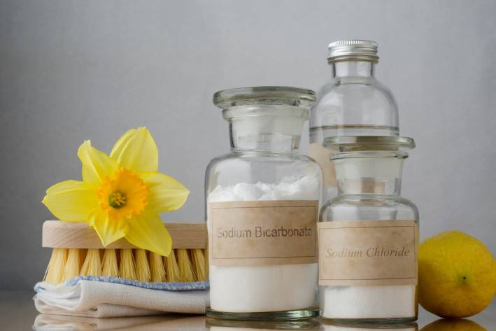Ingredients to make vatural cleaners in e-friendly containers.