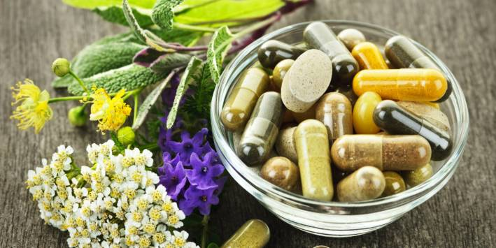 Natural herbs and supplement capsules