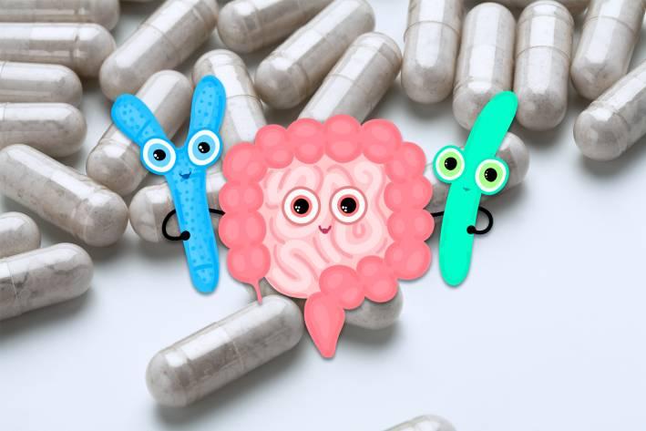 an illustration of happy intestines hugging good bacteria