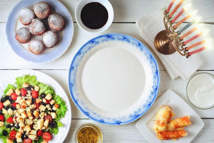A table set for a festive Hanukkah
