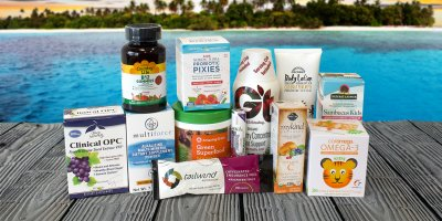 A range of fruit-themed all natural supplements, foods, and personal care products