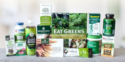 A whole bunch of natural products in green packaging
