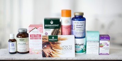 A selection of all-natural supplements and beauty products