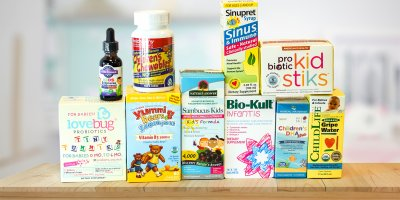 A selection of all-natural supplements and vitamins for kids