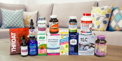 A selection of all-natural products for immunity and the symptoms of a cold