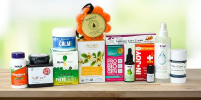 A collection of all-natural body care products and supplements