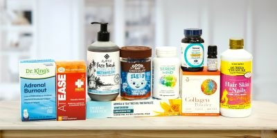 A collection of all-natural body care products and supplements for your head
