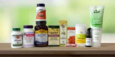 A variety of all-natural personal care products and supplements
