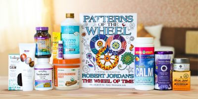 A collection of all-natural supplements and body care products meant to ease your mind