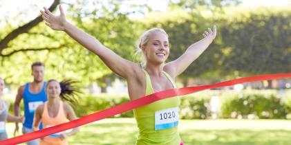woman winning race